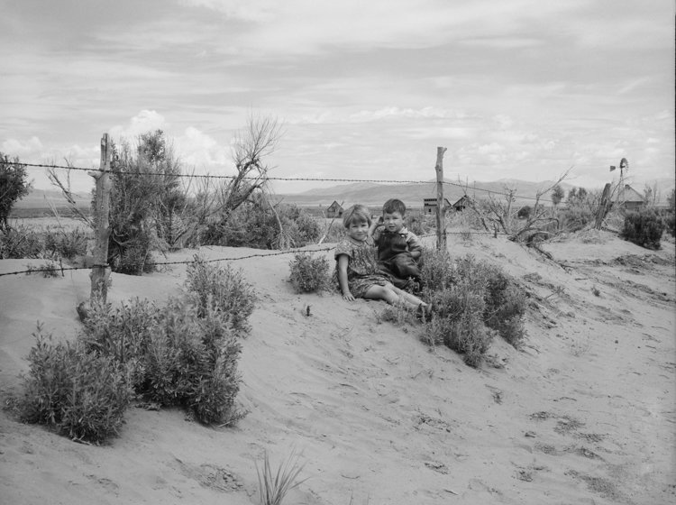 Sandy soil blown against fence. Oneida County, Idaho. 1936